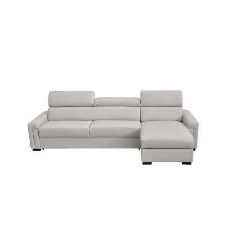 Gallery - Estro Salotti Sacha - Modern Light Grey Leather Reversible Sectional Sofa Bed with Storage