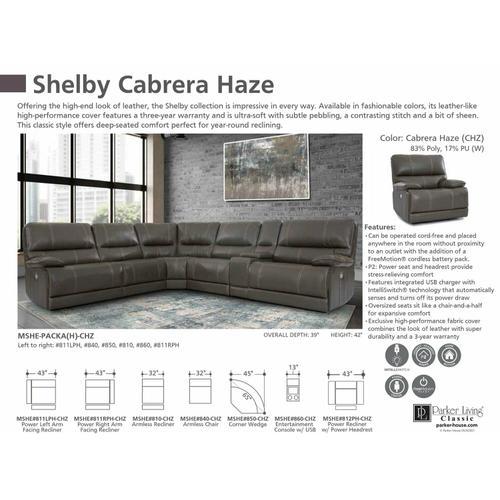 Parker House - SHELBY - CABRERA HAZE Power Right Arm Facing Recliner