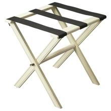 See Details - Perfect for any bedroom or walk-in closet, this luggage rack is ready when needed. The Cottage White finished solid wood frame features elegant carving on the stretcher base and legs with three heavy duty cloth straps. Folds away for convenient storage.