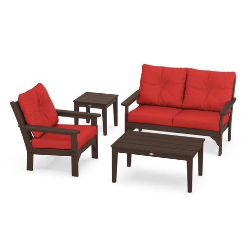 Vineyard 4-Piece Deep Seating Set in Mahogany / Crimson Linen