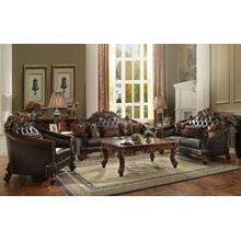 ACME Vendome II Sofa w/5 Pillows - 53130 - 2-Tone Dark Brown PU & Cherry