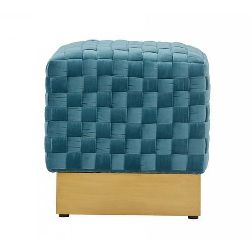 Gallery - Divani Casa Atwood Modern Blue Velvet Ottoman