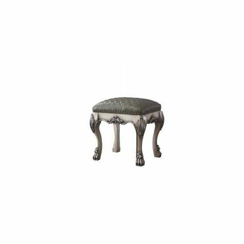 ACME Dresden Vanity Stool - 28195 - Traditional, Vintage - Wood (Poplar), MDF, Poly-Resin - Vintage Bone White and PU