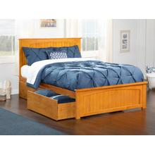 Nantucket Queen Bed with Matching Foot Board with 2 Urban Bed Drawers in Caramel Latte