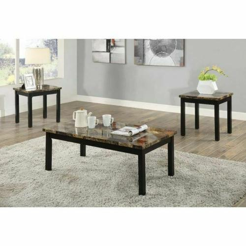 ACME Finely II 3Pc Pack Coffee/End Set - 80045 - Dark Brown Faux Marble & Black