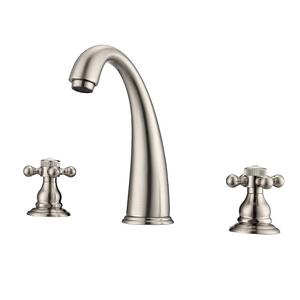 Maddox Widespread Lavatory Faucet with Button Cross Handles - Brushed Nickel Product Image