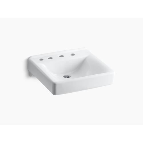 """White 20"""" X 18"""" Wall-mount/concealed Arm Carrier Bathroom Sink With 8"""" Widespread Faucet Holes and Left-hand Soap Dispenser Hole"""