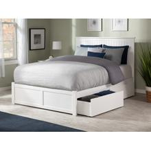 Nantucket Queen Flat Panel Foot Board with 2 Urban Bed Drawers White