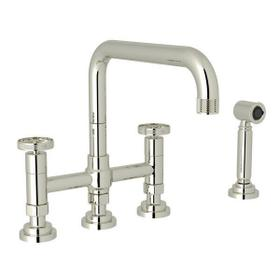 Campo Deck Mount U-Spout 3 Leg Bridge Faucet with Sidespray - Polished Nickel with Industrial Metal Wheel Handle