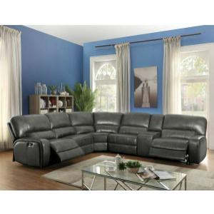 ACME Saul Sectional Sofa (Power Motion/USB Dock) - 53745 - Gray Leather-Aire