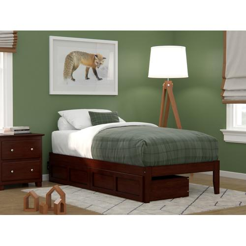 Atlantic Furniture - Colorado Twin Bed with USB Turbo Charger and 2 Drawers in Walnut