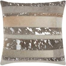 """See Details - Natural Leather Hide S1160 Silver Grey 20"""" X 20"""" Throw Pillow"""