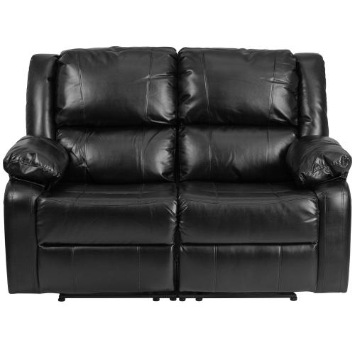Alamont Furniture - Black Leather Loveseat with Two Built-In Recliners