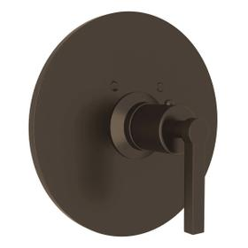Lombardia Thermostatic Trim Plate without Volume Control - Tuscan Brass with Metal Lever Handle