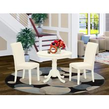 3Pc Dinette Set Includes a Small Rounded Kitchen Table and Two Parson Chairs with Cream Fabric, Linen White Finish