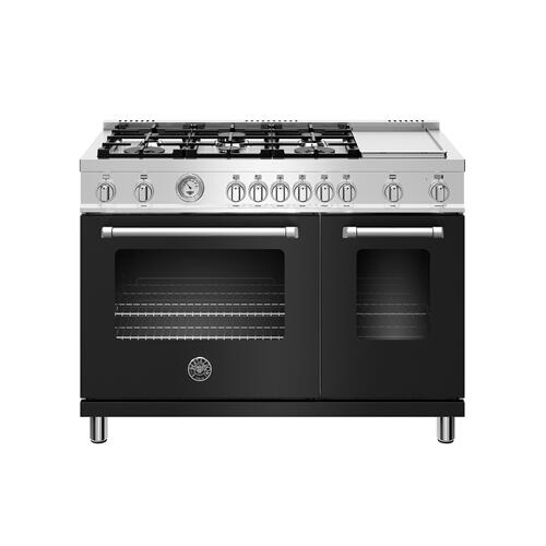 48 inch All Gas Range, 6 Burner and Griddle Nero Matt