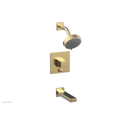 MIX Pressure Balance Tub and Shower Set - Cube Handle 290-29 - Satin Brass