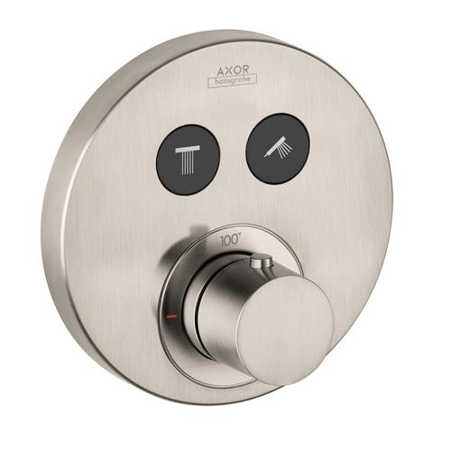 Brushed Nickel Thermostat for concealed installation round for 2 functions