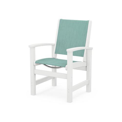 Coastal Dining Chair in White / Aquamarine Sling