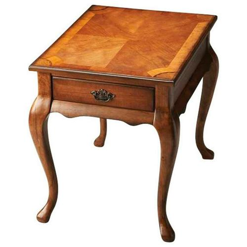 Butler Specialty Company - This Queen Anne-inspired end table is a tribute to the elegant homes of early America. Crafted from select solid woods and wood products, it features a matched cherry veneer top framed within olive ash burl veneers with maple and walnut veneer linen-fold inlaid designs at each corner. Drawer with antique brass finished hardware.