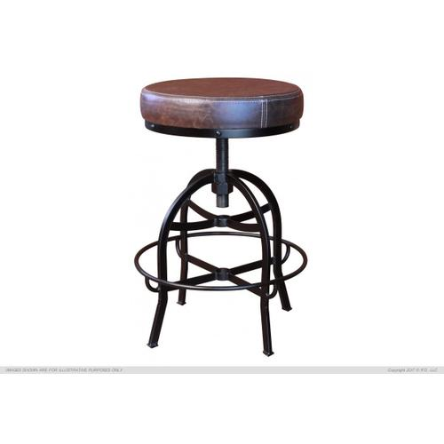 """Gallery - 24-30"""" Adjustable Swivel Stool, with Faux Leather seat, Iron base"""