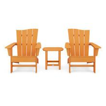 View Product - Wave 3-Piece Adirondack Chair Set in Vintage Tangerine