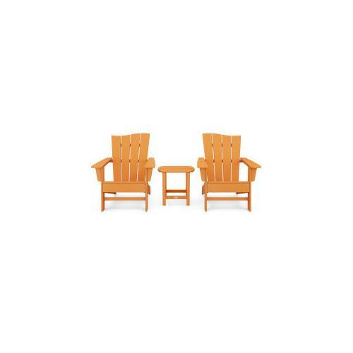 Polywood Furnishings - Wave 3-Piece Adirondack Chair Set in Vintage Tangerine