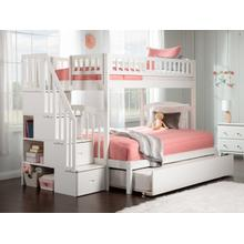 Westbrook Staircase Bunk Bed Twin over Full with Urban Trundle Bed in White