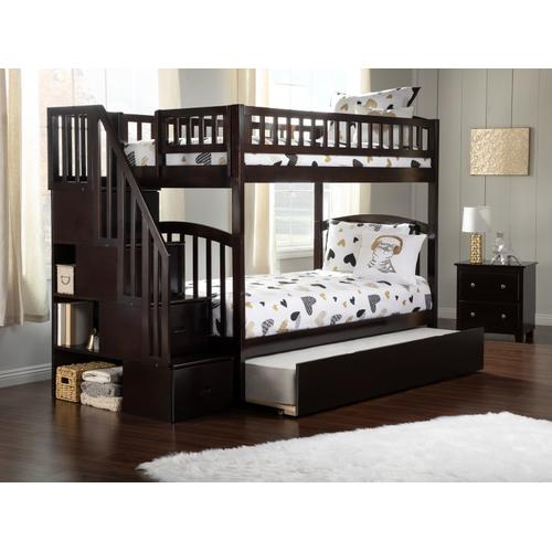 Westbrook Staircase Bunk Bed Twin over Twin with Urban Trundle Bed in Espresso