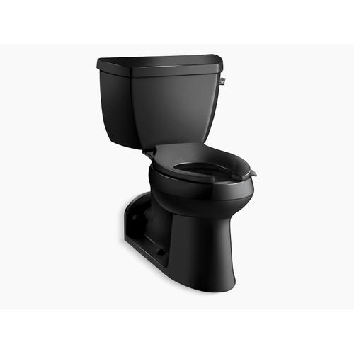 Black Black Two-piece Elongated Chair Height Toilet With Concealed Trapway