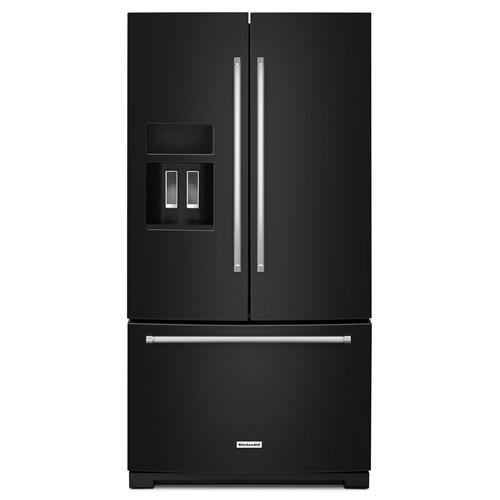 Gallery - 26.8 cu. ft. 36-Inch Width Standard Depth French Door Refrigerator with Exterior Ice and Water Black