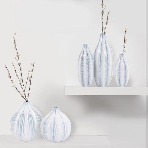 Howard Elliott - Blue and White Chevron Ceramic Globe Vase Large