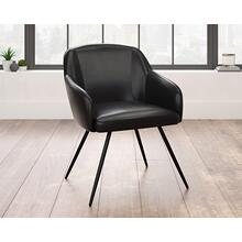Contemporary Black Faux Leather Occasional Chair