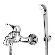 Exposed single lever bath-shower mixer with diverter, aerator, handshower Z9354P.C, spray support, 1500 mm flexible hose.