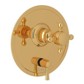 Pressure Balance Trim with Diverter - Italian Brass with Cross Handle