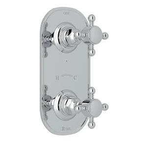1/2 Inch Thermostatic and Diverter Control Trim - Polished Chrome with Cross Handle