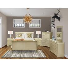 West Furniture Louis Philippe 6 Piece Queen Size Bedroom Set in Metallic Gold Finish with Queen Bed,2 Nightstands ,Dresser, Mirror,Chest