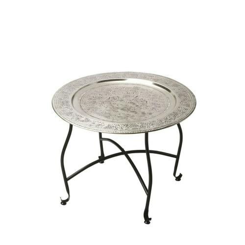 Inspired by a traditional Moroccan tea table, this tray table is embellished with vines and bunches of grapes on its aluminum serving tray. The lightweight aluminum tray nests securely in the base, and the aluminum base folds flat for easy storage. This p