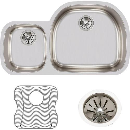 """Elkay Lustertone Classic Stainless Steel, 36-1/4"""" x 21-1/8"""" x 7-1/2"""", Offset 40/60 Double Bowl Undermount Sink Kit"""