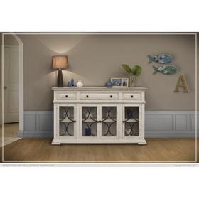 See Details - Bonanza Console w/ 4 glass doors w/ 3 Drawers Ivory