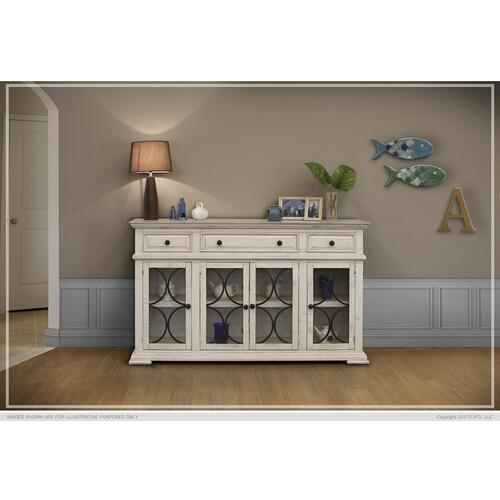 Console w/4 Glass Doors & 3 Drawers