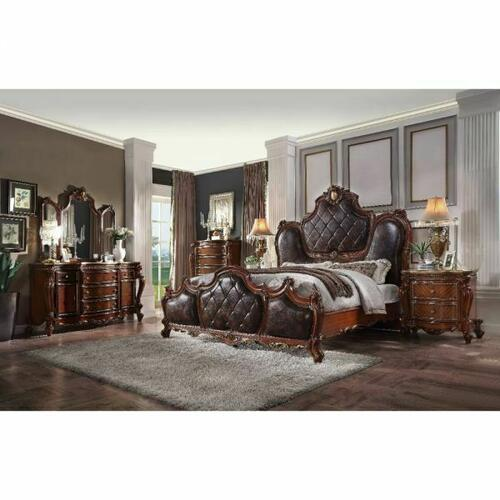 ACME Picardy Queen Bed - 28240Q - Traditional, Vintage - PU, Wood (Aspen/Poplar), MDF, Poly-Resin - PU and Cherry Oak