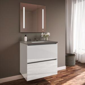 "Curated Cartesian 24"" X 15"" X 21"" Two Drawer Vanity In White Glass With Slow-close Plumbing Drawer, Full Drawer and Engineered Stone 25"" Vanity Top In Stone Gray (silestone Expo Grey) Product Image"