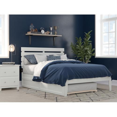 Atlantic Furniture - Oxford Full Bed with USB Turbo Charger and Twin Trundle in White