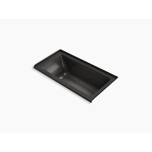 "Black Black 60"" X 30"" Three-side Integral Flange Whirlpool With Heater and Right-hand Drain"