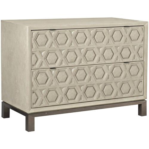 Santa Barbara Drawer Chest in Textured Cameo (385), Vintage Nickel Metal (385)