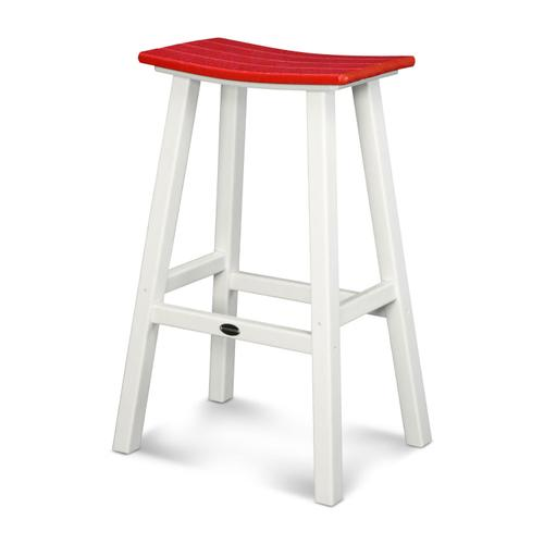 "White & Sunset Red Contempo 30"" Saddle Bar Stool"