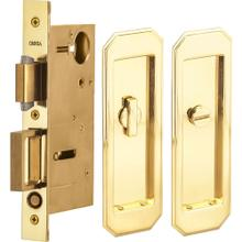 Pocket Door Lock with Traditional Trim featuring Turnpiece and Emergency Release in (US3A Polished Brass, Unlacquered)
