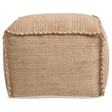 """Product Image - 24"""" Square x 16""""H Hand-Woven Jute Pouf, Natural"""