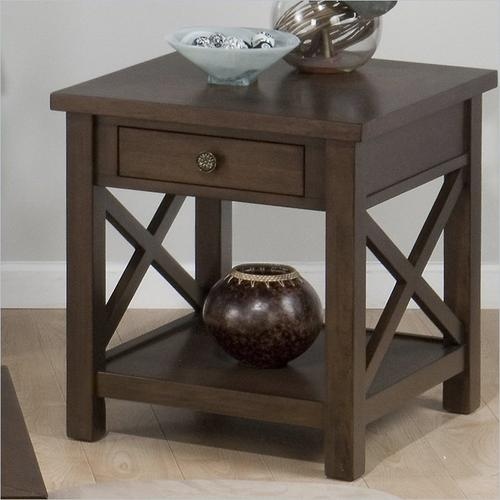 """End Table W/ """"x"""" Side, Drawer and Shelf"""